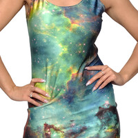 Green Galaxy Above Knee Sleeveless Mini Dress Design 3070