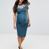 Little Mistress Maternity Midi Dress With Lace Embellished Sheer Bodice at asos.com