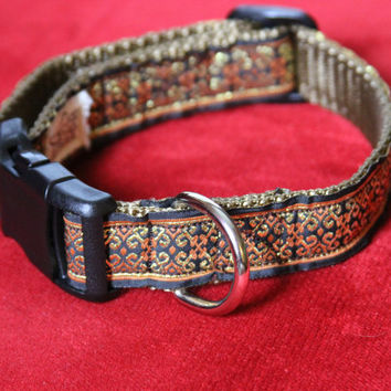 "Adjustable dog collar for special occasions or everyday glamour, 11.5"" to 16.5"" neck size metallic thread Jacquard Ribbon"