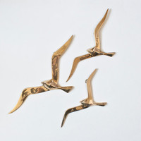 Mid Century Modern Brass Flying Seagulls, Wall Hanging, Hollywood Regency or Nautical