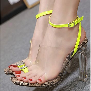 Hot style t-buckle open-toe square heel high heel sandals shoes