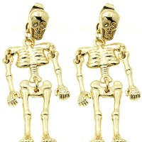 "1.95"" skeleton halloween goth earrings"