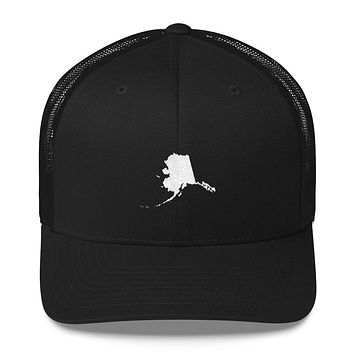 Alaska Embroidered State Shape Trucker Cap
