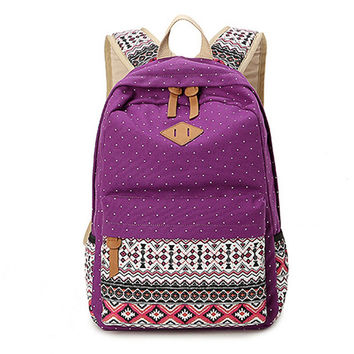 Women's Purpre Polka Dots Backpack for College Bookbag for Teen Girls School Bag