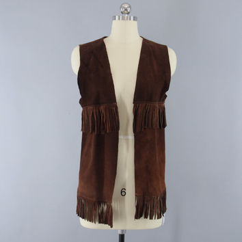 Vintage 1970s Suede Vest / 70s Fringed Leather Vest / Country Western Wear / Cowgirl Hippie Cowboy / Size XS S