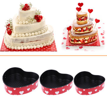 3pcs/set Baking Molds Pans Bake Cake Mold Carbon Steel Kitchen Bakeware Tools with Bottom Heart Shape Decor Bakeware Tools