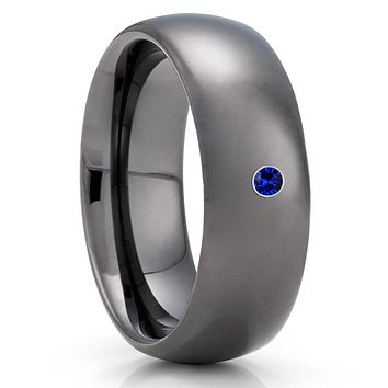 Blue Sapphire Tungsten Ring - Gunmetal Tungsten Ring - 8mm - Gray Tungsten