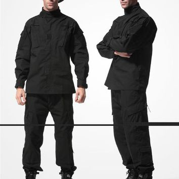 Black Millitary working clothing Combat Paintball Airsoft Game Army Uniforms wargame Suit  S-XXL