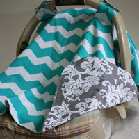 Grey and Aqua Chevron Reversible Car Seat Cover by annieeak