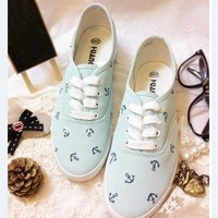 Small and pure and fresh powder blue ocean JunFeng boat anchor canvas shoes