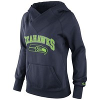 Nike Seattle Seahawks Ladies Wildcard Pullover Performance Hoodie - Navy Blue
