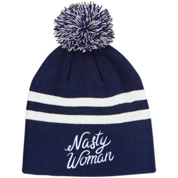 Nasty Women TT122 Team 365 Striped Pom Beanie