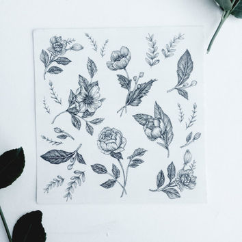 "Floral Temporary Tattoo Bundle Detail Mini Tattoos  5"" x 5"""