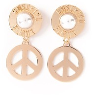 Moschino peace sign drop earrings