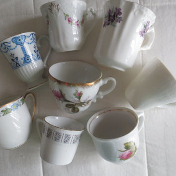 Set of 8 Mismatched Vintage china Tiny Teacups - Espresso Teacups, Tea Party, Party Favor, Bridesmaids Gift Vintage Wedding