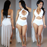 White Cross-Halter Plunging Layered Back Romper