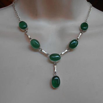 Chrysoprase Lavalier Necklace, Art Deco Rhodium Silver, Open Bezel Set