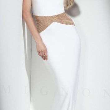 Beaded waist prom dresses by Mignon