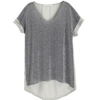 V Neckline Grey Tees with Chiffon Dip Back