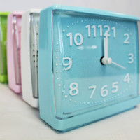Light Coloured Rectangular Analog Alarm Clock Desktop Table Bedside Clock Colour