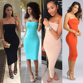 Womens Summer Strapless Bandeau Bodycon Tube Midi Maxi Cocktail New Ladies Dress