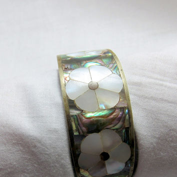 Abalone  silver bracelet bangle clasp bracelet vintage mexican mother of pearl