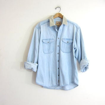 20% OFF SALE vintage denim boyfriend shirt. faded button down jean shirt. oversized shirt with elbow patches.