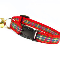 "Holiday Cat Collar - ""Norwegian Wood"" - Red, Green & Gold Plaid / Tartan Pattern"