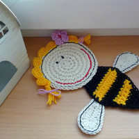 Crochet Coaster Honey Bee, Ornament, decoration 1pc