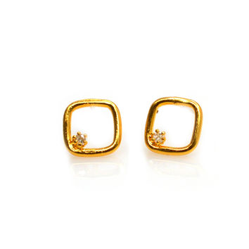 Tiny Square Studs with Diamonds