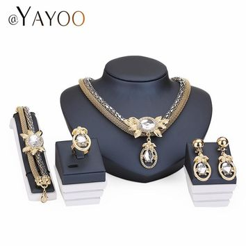 Indian Jewelry Set For Women Wedding Necklaces Bridal Turkish Jewellry Gold Color Imitation Crystal Fashion Party Accessories