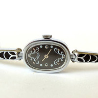 Watch Bracelet LUCH. Womens Watches. Vintage Ladies Mechanical Watch. Black face watch for women. Elegant silver tone watch bracelet.
