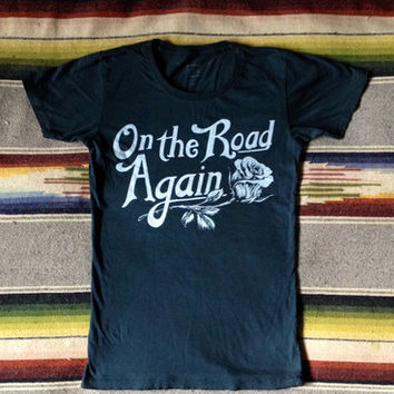 Bandit Brand General Store — On The Road Again Women's T Shirt Black/White