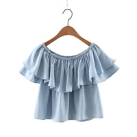 women sexy slash neck crop top ruffles denim loose blouses double layer sleeve shirts ladies summer casual tops ropa mujer DT703