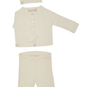 Cozychic Ultra Light Ribbed Cardi, Hat, and Pant Set by Barefoot Dreams