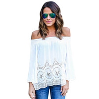 Off The Shoulder Hollow Out Loose Women T-shirt 7227
