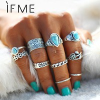Big Blue Stone Flowers Rings/Bohemian Ring Set 10pcs/set