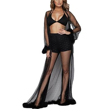 Feathers and Rhinestone 3pc Mesh Set