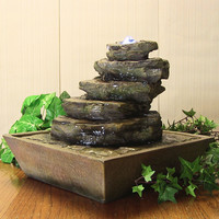 Cascading Rocks Tabletop Fountain w/ LED Lights