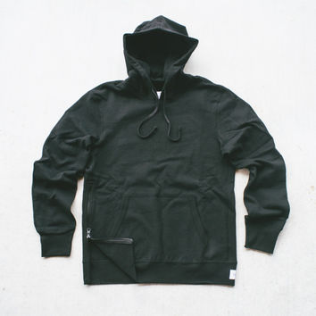 Reigning Champ Knit Heavyweight Pullover Hoodie w/ side zip - Black