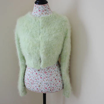 Ready to ship, Lime Green Wedding Bolero Handmade knit from 100% angora rabbit Hand spun yarn, Angora bolero, Will fit size S/M/L