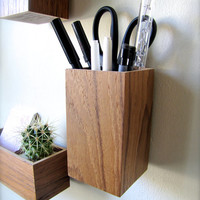 "Hanging Organizer, Pencil Holder, Floating Desk Organizer, Wall Mounted Organizer, made from TEAK wood, roughly 3"" x 3"" x 5"" tall"