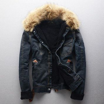 Retro Denim Fur Coats