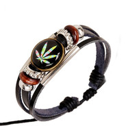Leather Maple Leaf Bracelet Wristband Punk Rock Vintage Jewelry Color Weed Round