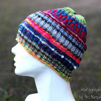 Multi pattern hat - handknit from quality yarn in various colors, slouchy, perfect gift for him or her