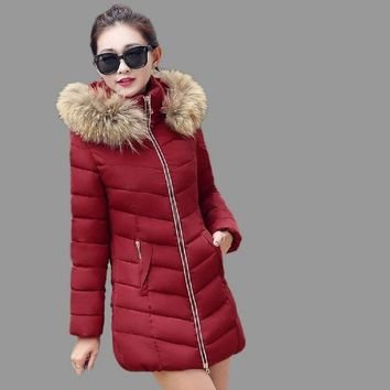 Winter jacket women fashion 2017 HOT parka new long coat female jacket thick hat collar big fur collar Women's winter coats