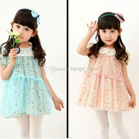 New Girls Children Floral Lace Princess Dress With Lace Collar 4 pcs/lot Girls Summer Floral Printed Lace TUTU Dress With Embroidered Edge