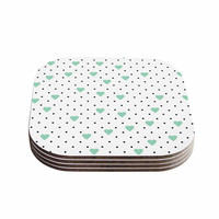 "Project M ""Pin Point Polka Dot Mint"" Green White Coasters (Set of 4)"