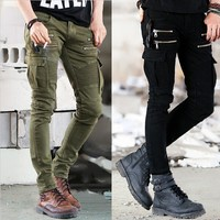 *online exclusive* men's stretch cargo moto zip jeans
