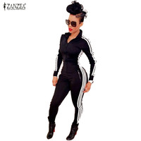 New Women Jumpsuits Rompers 2016 Fashion Ladies Long Sleeve Sportswear Playsuits Athletic Zipper Bodysuit Overalls macacao